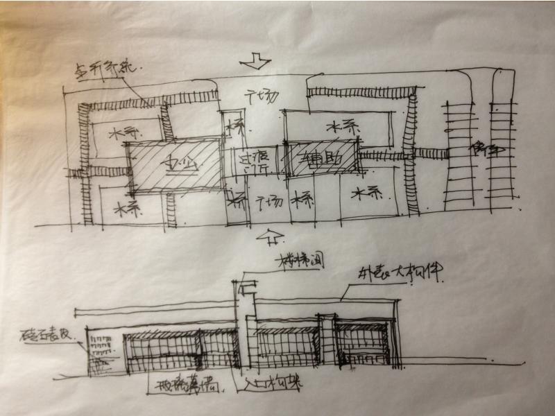 办公楼首层450平米平面图手绘