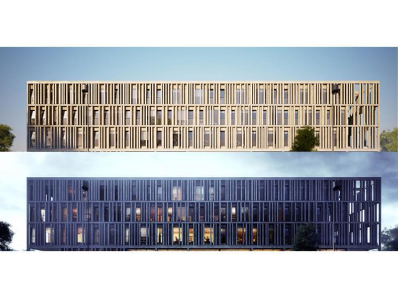 宿舍楼外观效果要达到办公楼立面的要求,功能和外观的差异给立面改造