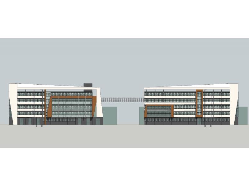 1.使用灰綠色玻璃與細致的線條劃分體現現代主義建筑的簡潔大氣,木紋色的體塊豐富了立面效果,表達現代工業的進步發達; 2.每層玻璃上方均有百葉,滿足房間的通風采光需求; 3.兩座建筑在立面上既有區別又有聯系,上翹的屋頂構件像兩只展翅欲飛的翅膀,寓意業務的蒸蒸日上;兩座建筑通過鋼桁架相連,形式上渾然一體,又有助于入口空間的營造。