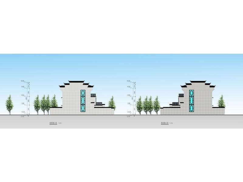 徽式建筑矢量图