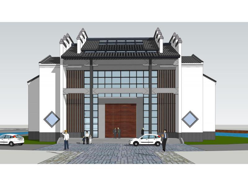 徽派民居风格的清淡雅致为主,墙以白色为主,门窗以深色搭配,屋顶以