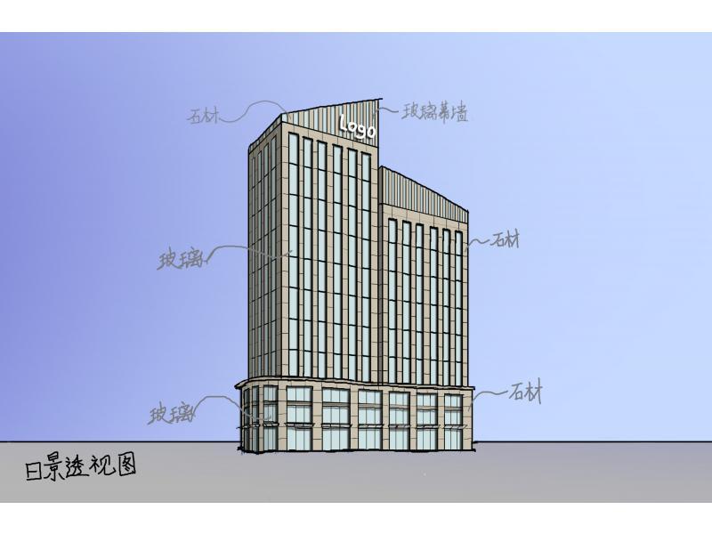办公楼立面设计手稿-投标鉴赏-设计群网