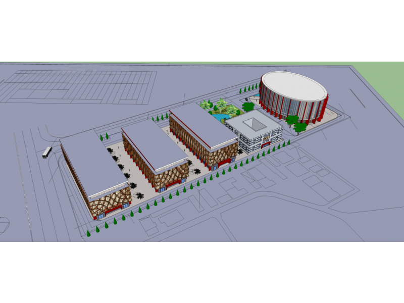 古玩市场立面改造围绕简洁,大方展开,从中国古建筑和建筑构件中提取设计元素应用到立面设计上,与古玩市场的业态氛围相适应。 古玩市场建筑从北到南分别为1号楼,2号楼,3号楼,饮食中心,4号楼。1-3号楼,在平面上新改建出三条步行街,使得一层门面房大大增加,扩大商业利润。立面均采用同样的设计手法,以红色柱体为基底,中间是一系列的仿木构件和幕墙,上部以中式花窗为元素的幕墙,整体氛围既现代大方又兼具古玩市场气质。 饮食中心,扩建后与原有的办公楼为合成一个大的内院,创造舒适的饮食环境。立面上整个外墙均是用从中国古代花