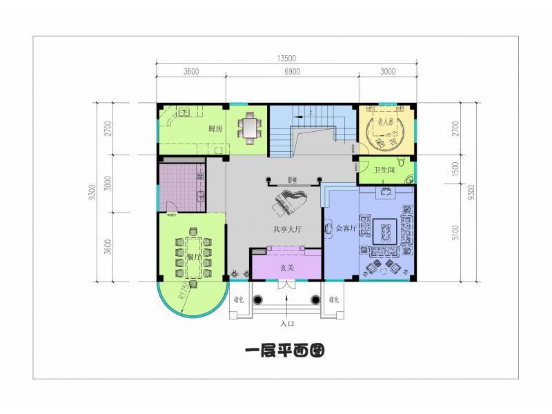 自建房单层多卧室户型图