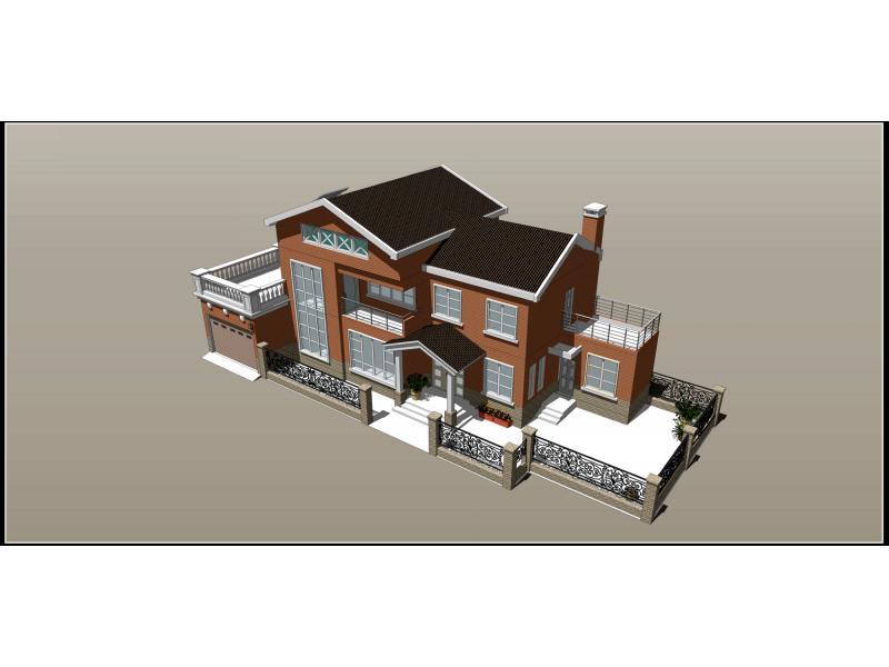 根据地形,用地呈狭长式,故该建筑进深不大,开间较多。别墅打破传统农村住宅从堂屋进户的格局,设有相对独立的入户门厅。一楼主要为公共活动空间:客厅、餐厅、厨房、棋牌室。二楼为主要的私密空间,两个次卧一个主卧,加上一个家庭休息厅。建筑造型采用大坡屋顶形式,无论是从节能还是防水上,坡屋顶都是比较好的选择。烟囱高出坡屋顶屋脊30厘米,不受风向的影响,有利于排烟。