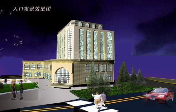 欧式办公楼设计,底层为商业部分