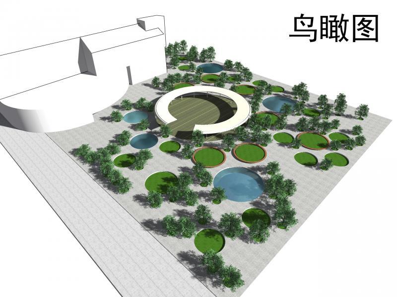 学校文化广场 手绘平面