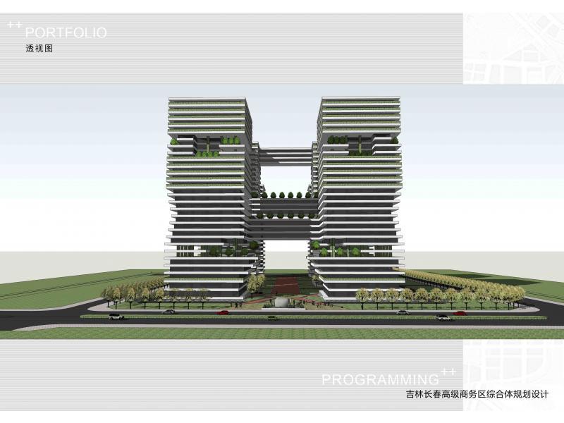 作品描述:总平面设计   基地平坦,呈长方形,建筑规划六个规整的大楼