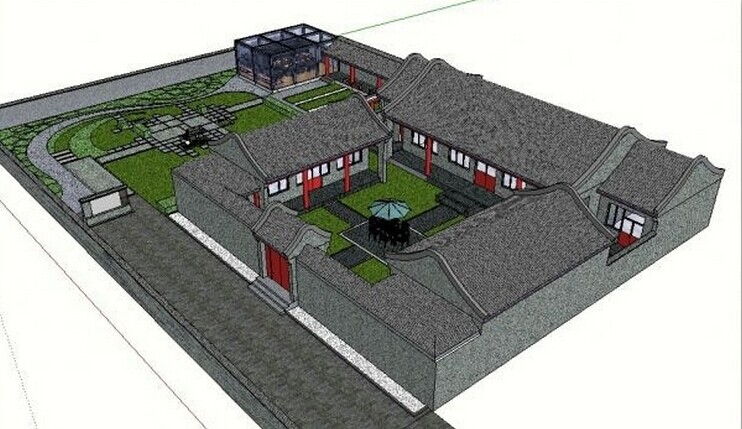 中国古建筑效果图_古建筑夜景效果图室外模型模型设计效果图