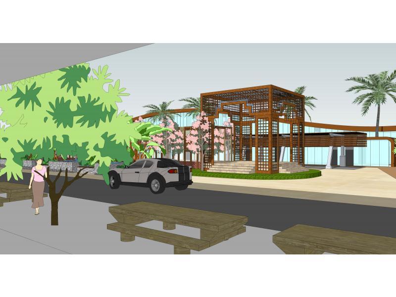 将具有海边特色的建筑和小品植被等赋予了内涵,将这一区域的停车,餐饮