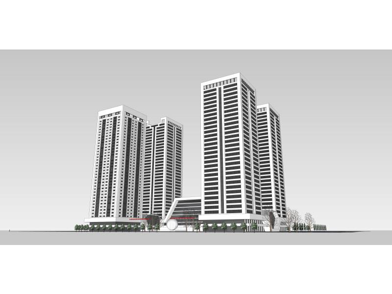 >> 商务区立面设计   作品描述:四座塔楼以垂直元素为主,突出垂直感