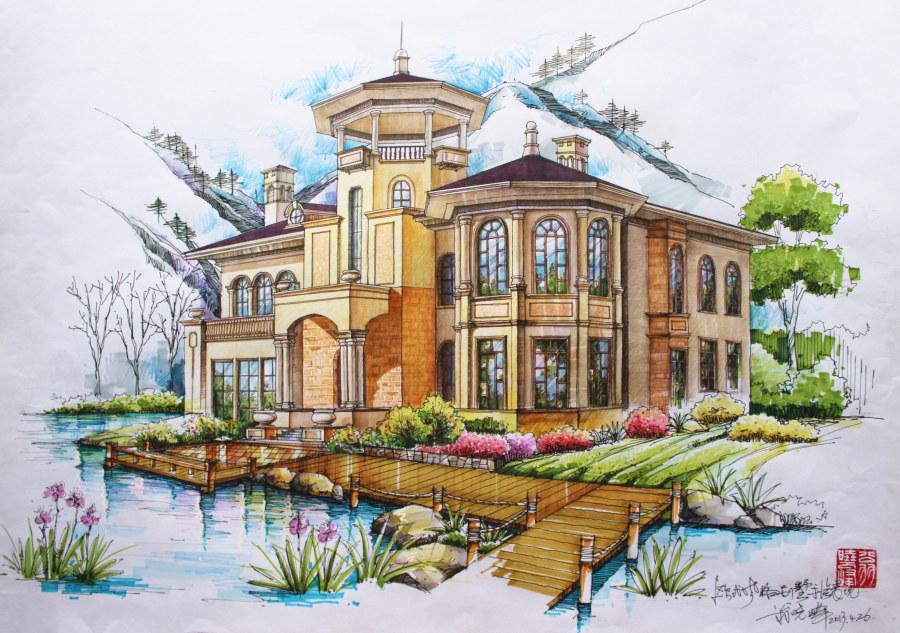 建筑房屋手绘图片