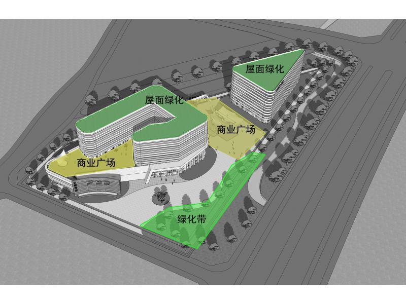 平面设计:服务中心商业和酒店功能两个互为分开的
