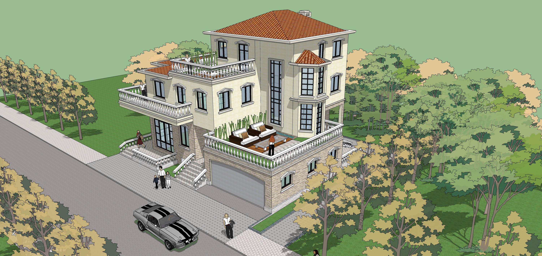 屋顶别墅室内 设计   农村二层半平屋顶自建房 设计 图纸