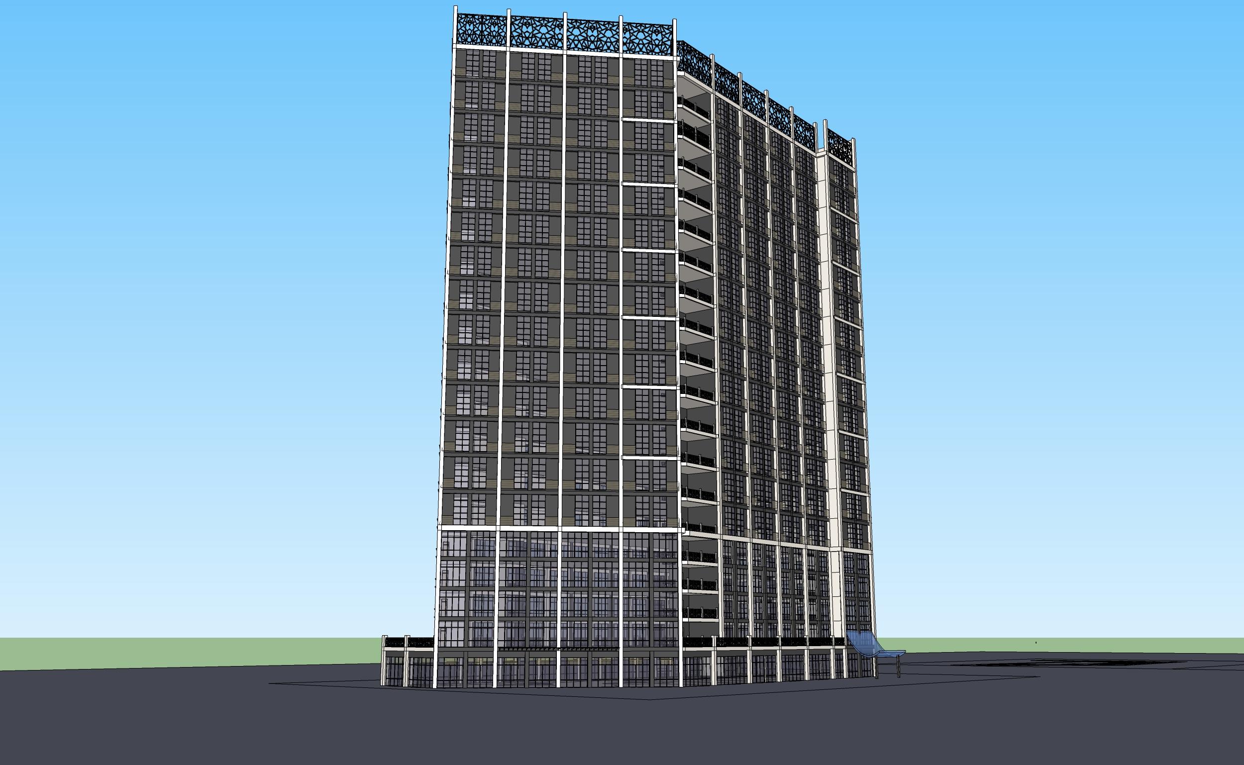 高层办公楼立面设计2017号方案