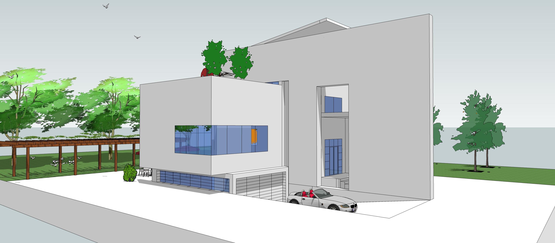 山地别墅立面造型及围墙设计 SU模型效果图