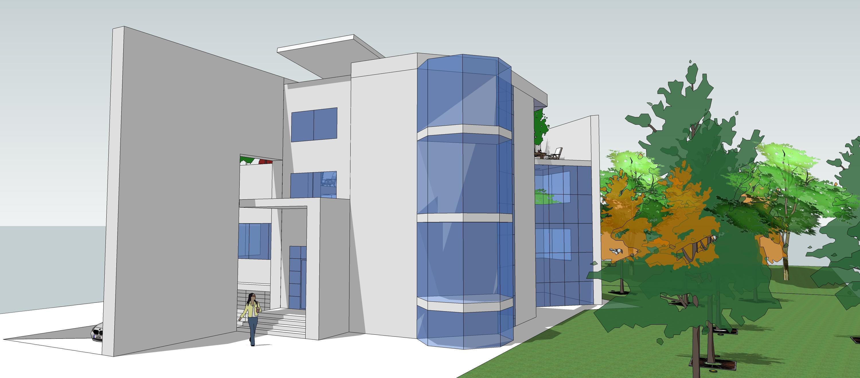 山地别墅立面造型及围墙设计(su模型效果图)