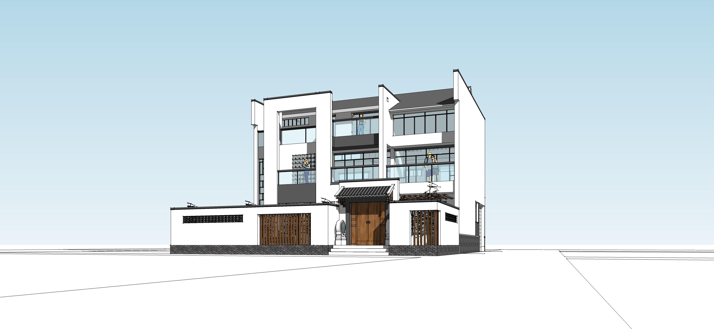 69 21512号自建房设计效果图绿色建筑设计  设计说明: 方案以中式合